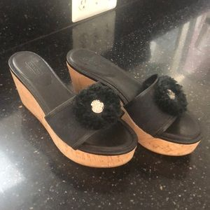 Coach wedge sandals in black